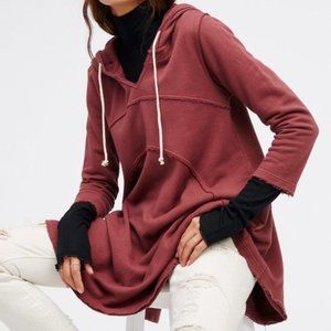 Free People Beach RED Luna Hoodie Tunic XS/S